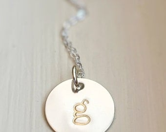 Silver Gold Lowercase Initial Letter Jewelry Necklace sterling Silver Gold Accented Dual Tone Gift for Her