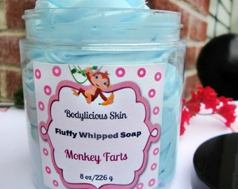 Fluffy Whipped Soap, Monkey Farts, Vegan Soap 8 oz