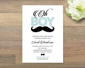 Printable Baby Shower Invitation, Little Man, Oh Boy, Mustache