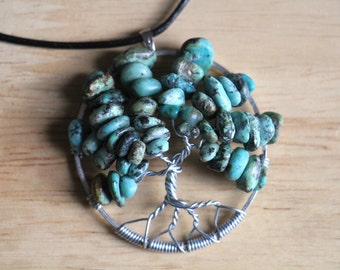 """African Turquoise Tree of Life pendant / necklace - 45mm / 1.75"""" - with leather necklace"""