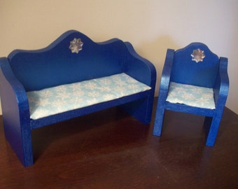 Elsa Frozen Inspired Wooden Doll Furniture Living Room Chair and Couch Novelty Display Furniture, Barbie Doll Size, Blue Doll Furniture