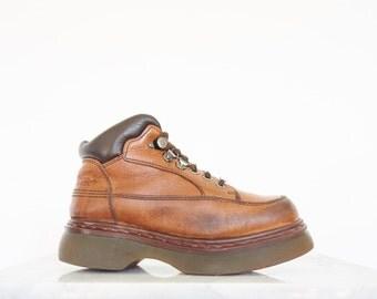 90s Dr. Martens Brown Leather Platform Work Boots / Women's Size 7 US - 37/38 Eur - 5 UK