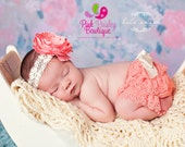 Newborn Photo Shoot Outfit - Baby Headband and Bloomers- Baby Hospital Photos - Baby Ruffle cover - Cake smash outfit - Baby Diaper cover