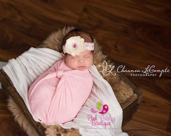 SALE Baby Headbands - Flower Infant Headbands - Baby Girl Headbands - Baby Hair Accessories - Baby Hairbows - Newborn Bows - Ivory Pink Bows