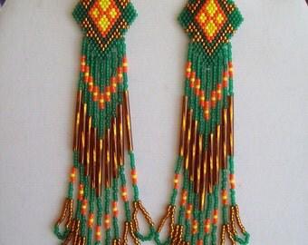 Native American Style Beaded Green, Brown, Orange and Yellow Weave Earrings 6 inch Southwestern, Boho, Peyote, Brick Stitch, Great Gift