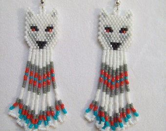 Native American Style White Red Eyed Wolf Beaded Delica Earring Boho, Southwestern, Peyote, Brick Stitch, Loom, Gypsy Dangle Sexy Great Gift