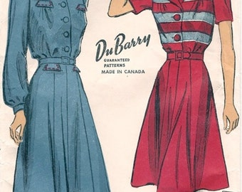 Classic Unused Vintage 1940s DuBarry 5281 WWII Style Detailed Button Front Shirtwaist Dress Sewing Pattern B32