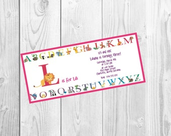 Alphabet Invitations ABC 123 Birthday Baby Shower Party