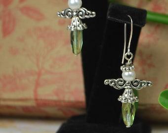 Sweet tiny angel earrings, holiday earrings, christmas earrings, green earrings ,SRAJD