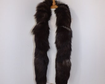 Vintage real silver frosted fox fur tails long boa scarf wrap stole brown white