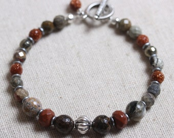 Rustic Beaded Bracelet of Bronzite, Red Jasper & Pyrite with Toggle Closure