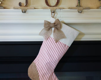 Christmas Stocking with Burlap and Red Ticking Accents