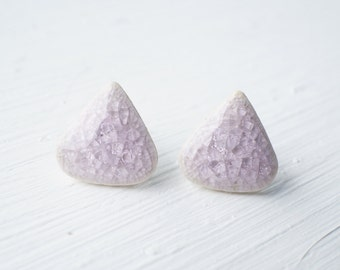 Lavender Ceramic Triangle Stud Earrings