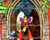 Frida Kahlo Art Print, 5x7 Print,  Frida Portraits, Mexican Art, Mexican Nicho,  Folk Art, Mexico, Latin Art, Frameable Art, Miniature Art