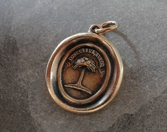 Wax Seal Charm Palm Tree - antique wax seal jewelry in bronze Latin crest motto When Struck I Rise by RQP Studio