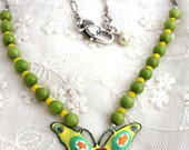 Butterfly Necklace, Butterfly Jewelry, Butterfly Wedding, Green Necklace, Monarch Butterfly, Recycled Jewelry,Upcycled Necklace,Mod Jewelry