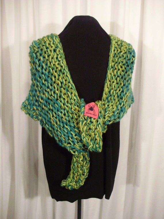 green and gold wrap--Irish Eyes Are Smiling Knit Shawl