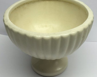 Vintage Haeger Planter Bowl Pedestal Ribbed Ivory 6 x 5