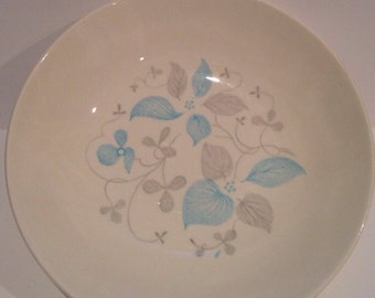 Vintage Royal China Venice Serving Bowl 9 inch blue and gray floral print. 1960