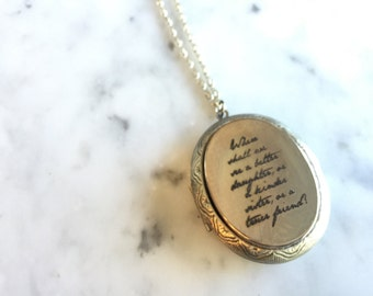 Jane Austen Locket Necklace, Jane Austen, Jane Austen Necklace, Jane Austen Quote, Engraved Locket, Where Shall We See,  Quote Locket