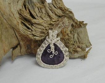 Amethyst teardrop silver Parawire wrapped teardrop pendant
