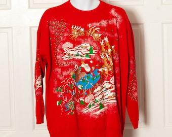 Vintage 80s Glittery Santa Claus Christmas Sweatshirt - Christmas On Mainstreet