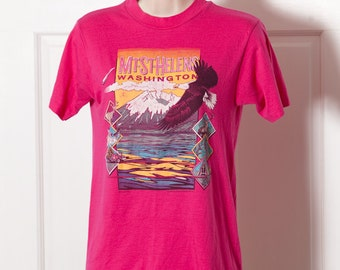 Vintage 80s MT ST HELENS Washington Tshirt pink - S 34-36