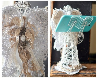 French Farmhouse Wire Angel Statue, Shabby Angel, iPhone tablet holder, Farmhouse Angel