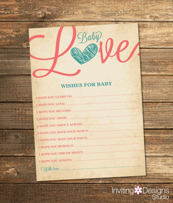 Baby Love Wishes Card - Coral Teal