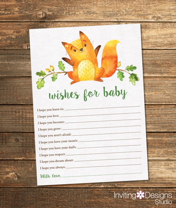 Woodland Friends Baby Shower Wishes Card - Neutral