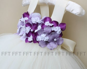 Purple, Lavender and Ivory (or white) Flower Girl Tutu Dress