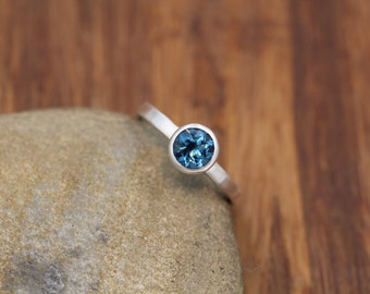 London Blue Topaz Ring - 6mm Matte Finish Solitaire Bezel Ring - Round Topaz Ring - Alternative Ring - Recycled - Engraveable Ring