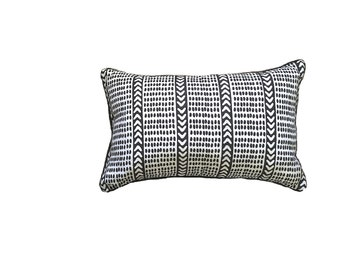 Charcoal Tribal dash linen cushion cover