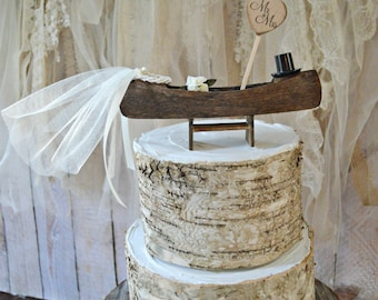 Wedding cake topper-canoe-boat-row boat-ivory-rustic-woodland-Mr and Mrs-sign-rustic wedding-camping-hunting-fishing-bride-groom-outdoors