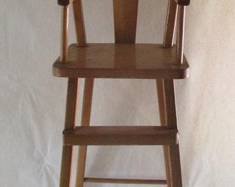 Doll High Chair, Vintage Wood Doll Display Accessory Furniture Flip Tray, Nursery Playroom Photo Display Prop