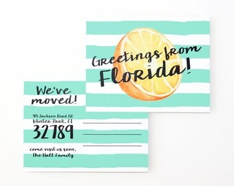 Moving Announcement Postcards Change of Address Cards We've Moved to the Beach California Florida Tropical Moving Cards  Watercolor Orange