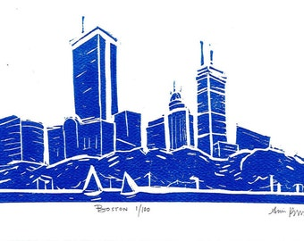 Boston Skyline Linoleum Block Print