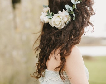 Sienna Flower Crown- created with ivory and cream roses and sage eucalyptus leaves