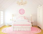 """Scalloped Monogram Door Hanger - Custom Monogram Door Hanger - Wedding Gift - Mantle Decor - Unfinished or Painted - 22"""" Size"""