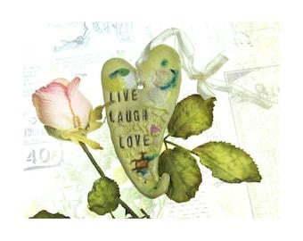 wall heart, ceramic heart, wall decor heart, hanging heart, wall art, clay heart,  LIVE - LAUGH - LOVE   # 74