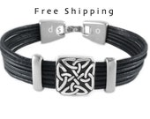 Celtic bracelet, Love knot bracelet, Men's bracelet, Womens bracelet, Celtic jewelry, Leather cuff, Irish gift, Scottish gaelic, Custom made
