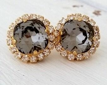 Gray earrings,Gray bridesmaid earrings,Gray bridal earrings,Swarovski earrings,grey crystal stud earrings,gray wedding,crystal earrings