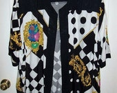 Vintage 80s Ladies Open Front Shirt Jacket Vision Plus by Joseph Ribkoff O/S Only 9 USD