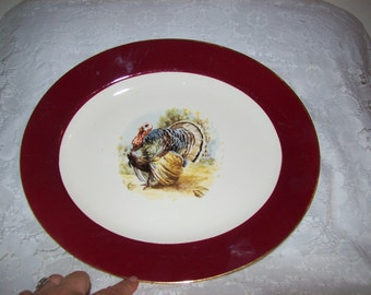 Vintage 1954 Cavalier Eggshell Turkey Platter by Homer Laughlin Only 8 USD