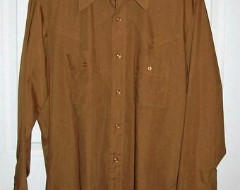 "Vintage RARE 1960s Mens Brown MARLBORO Western Shirt Large 16 - 16 1/2"" Neck Only 26 USD"