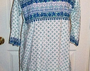 Vintage 90s Blue, Green & White Print Boho Tunic Blouse Large Only 9 USD