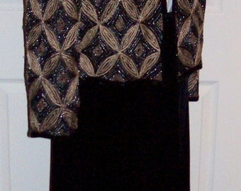 Vintage Ladies Black Velvet Skirt Set Beaded Silk Blazer Large Only 12 USD