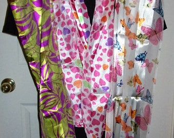 Vintage Ladies Long Multi Color Butterfly, Hearts & Flowers Scarves ALL 3 for 5 USD