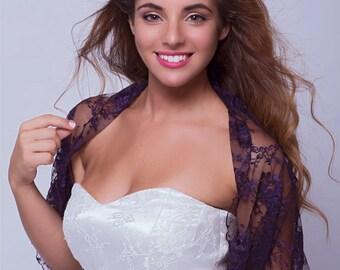 Deep Purple Lace Wedding Shrug. Versatile Top- Shawl, Shrug, Twist Or Scarf.  Bridesmaids Shrugs, Bridal Bolero, Elegant Lace Cover Up DL154