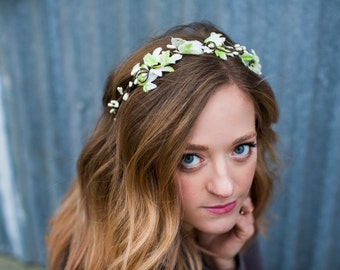Woodland Bridal Floral Crown, Leaves Flower Crown, summer, autumn, headpiece, Hair Accessories, bohemian, bridesmaids